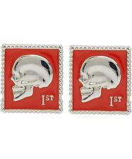 Paul Smith Cufflinks - Red Enamelled Skull Stamp Metal/NEW & BOXED/UK Seller