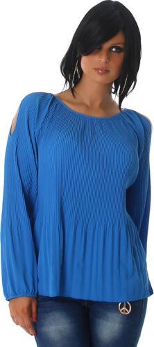 Bluse Damen Shirt Tunika Babydoll Ripp-Optik Langarm 34 36 38