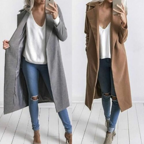 Winter Women Warm Thicken Woolen Trench Coat Parka Overcoat Long Jacket Outwear