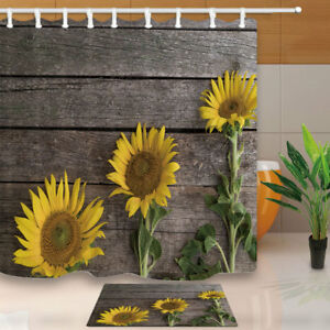 Image Is Loading Three Sunflowers Shower Curtain Bathroom Polyester Fabric Amp