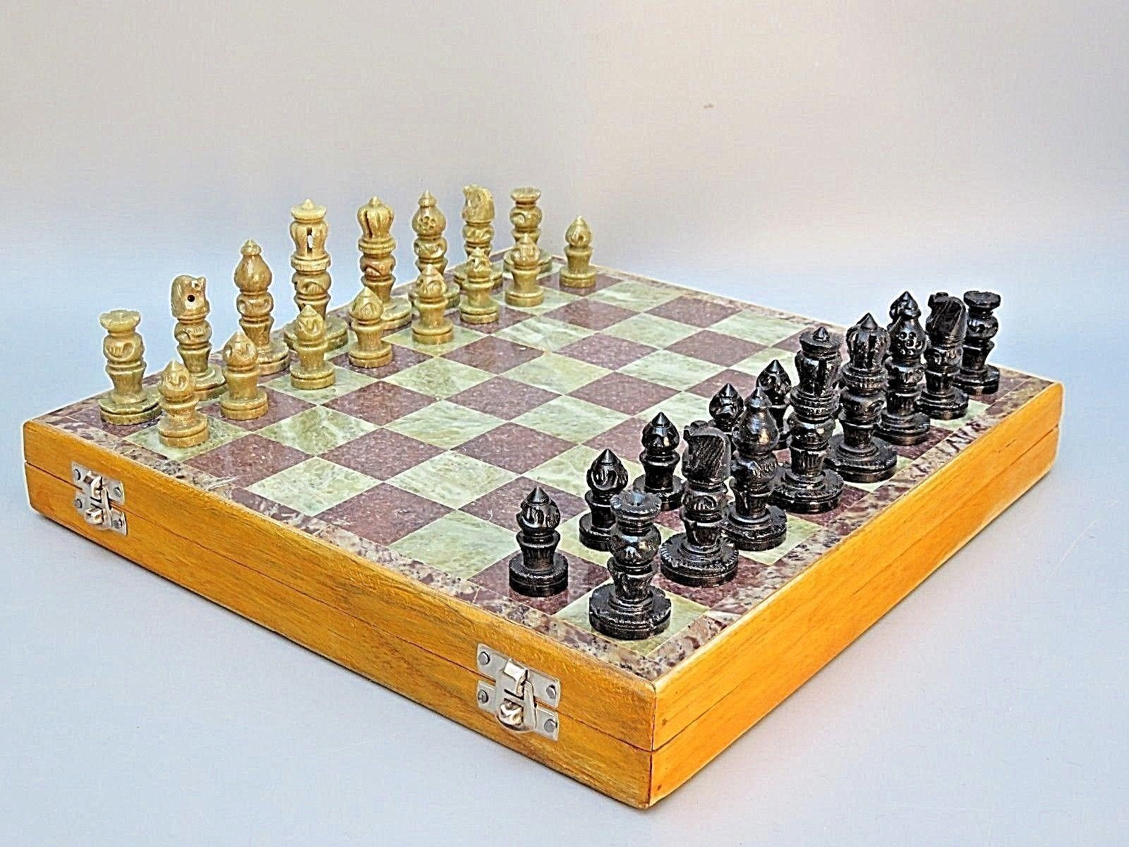 CHESS SET MARBLE Weiß BOARD GAME GAME GAME WITH WOODEN BOARDER PIECES INCLUDED 14  650bdf