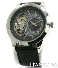 New Elgin Men Automatic-Quartz Sub-Second Dial Black Leather Watch 48mm FG8004