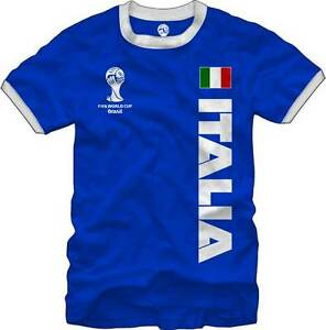 Italia-Italy-Soccer-FIFA-World-Cup-2014-T-Shirt-Blue-Flag-Logo-Men-039-s-M-L-XL