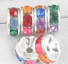 Free Ship 100pcs Silver Colorful plated spacer beads 8mm