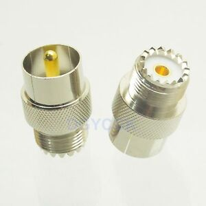 10pcs Conversion Adapter Slide-on quick PL259 male plug to UHF SO239 female jack