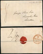 GB 1831 WINGHAM KENT WRAPPER + SEAL FORGET ME NOT FLOWER 8d PROVINCIAL POST