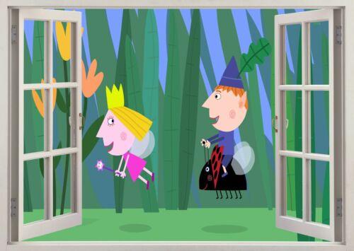 Ben Et Holly Petit Royaume vue 3D Mur Effet STICKER Poster Mural Decal 608