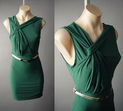 Dark Green Sculptural Gathered Drape Metallic Gold Belt Party 209 mv Dress M L