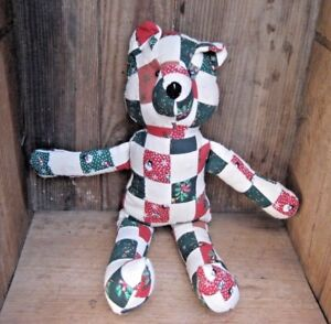 9188b169e51 Image is loading Stuffed-Teddy -Bear-Christmas-Holidays-Collectible-Patch-Work-