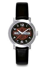 Harley-Davidson® Bulova Womens Bar & Shield Stainless Steel Leather Watch 76L10