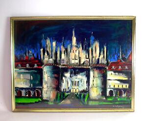 Constantin-CALAFATEANU-1911-1987-expressives-Aquarell-STADTTOR-amp-Skyline