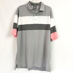 Footjoy-Mens-XL-Golf-Polo-Gray-Engineered-Birdseye-Pique-Colorblock-Short-Sleeve