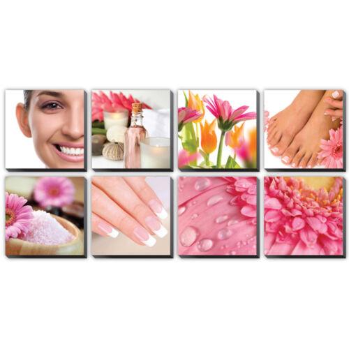 DAISY 8 Pc Beauty Salon Spa Massage Decal Decoration 24 x 24 Canvas Mural CM-DA