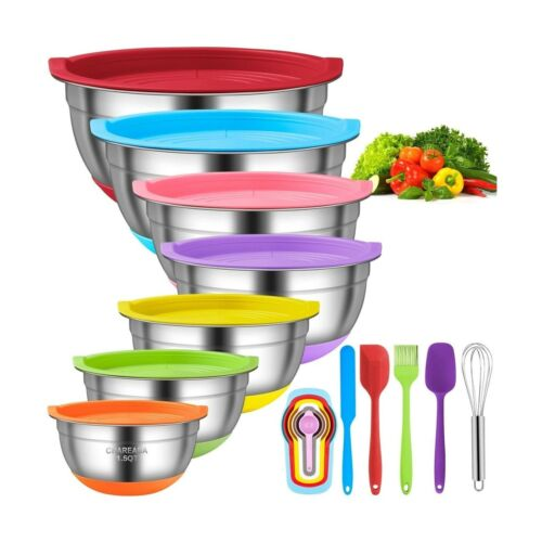 18pcs Stainless Steel Nesting Colorful Mixin... Mixing Bowls with Airtight Lids