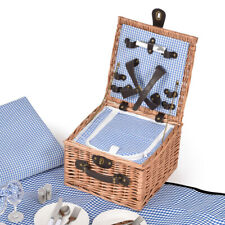 2 Person Picnic Basket Willow Baskets Set Insulated Outdoor Blanket Gift Storage