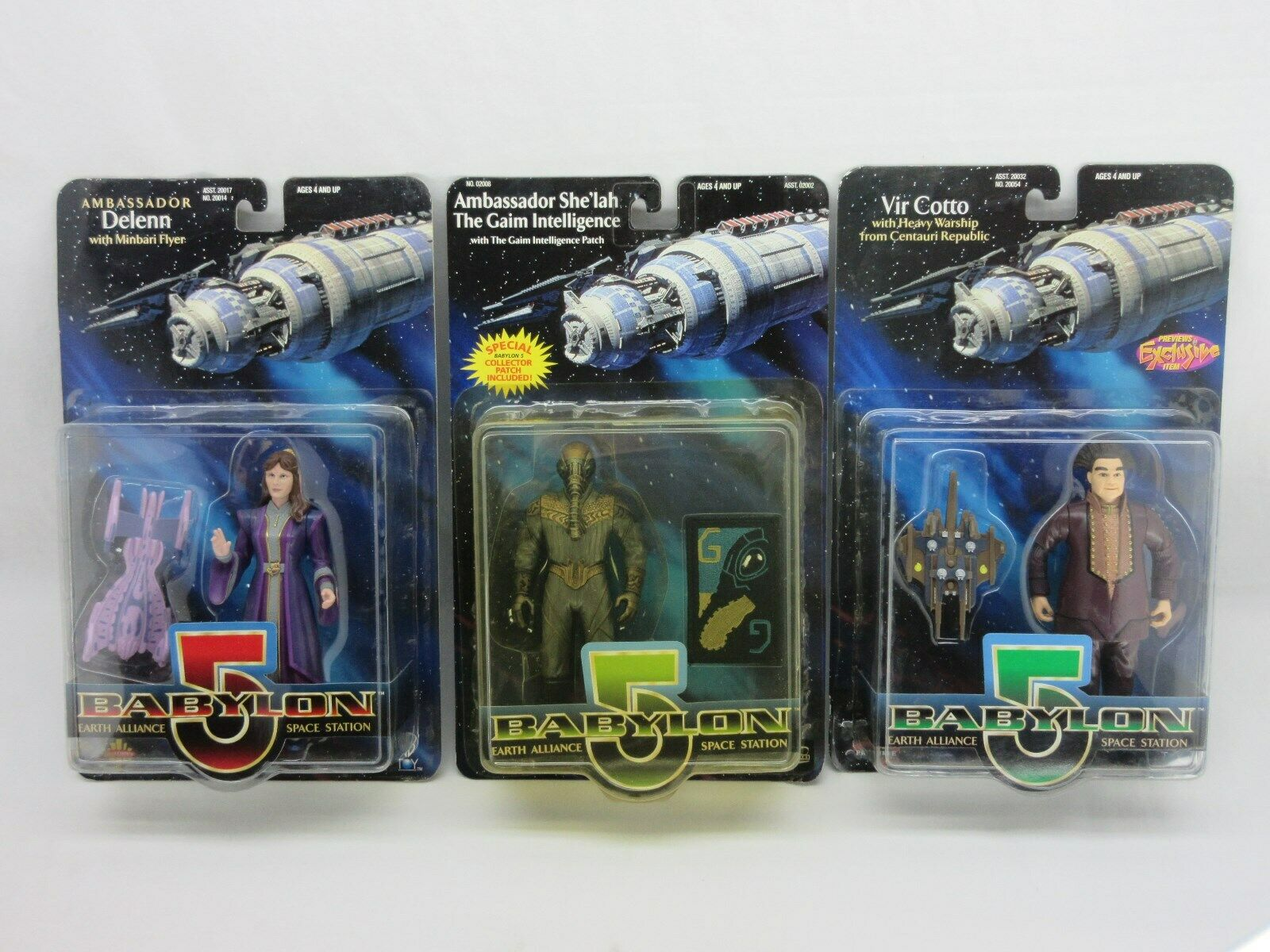 Babylon 5,Lot of 3 action figures,sealed,MOC,Delenn,Ambassador She'lah,Vir Cotto