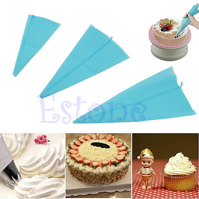 New Reusable 3 Sizes Silicone Decorating Cake Icing Piping Cream Bag