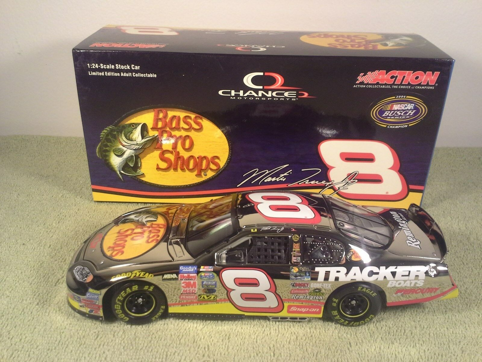 2004 Action RCCA MARTIN TRUEX JR  8 Bass Pro CHROME Chevy Diecast Nascar 1 24