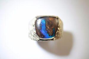 1bcefcde1c04e1 Blue & Green Solid Boulder Opal Ring in 100% Sterling Silver | eBay