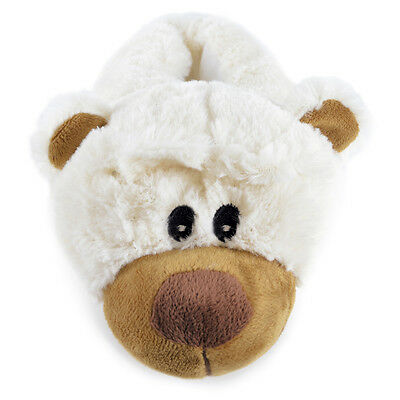 Unisex Kids Padded Faux Fur Novelty Brown Or White Bear Slippers In 4 UK Sizes