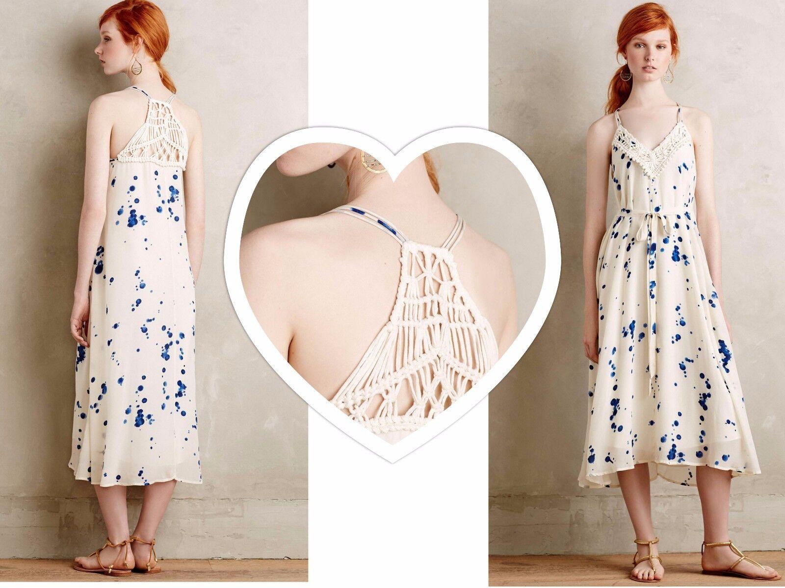 NWT Anthropologie Inkdrop Midi Dress by Maeve, SP, M, L, Crochet Back,