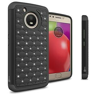 pretty nice 14aff a8b11 Details about For Motorola Moto E 4th Gen (Moto E4) Case Black Hybrid  Diamond Bling Skin Cover