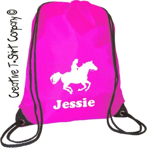 STABLES, DRAWSTRINGTACK BAG HORSE or PONY CLUB PINK PERSONALISED  EQUESTRIAN