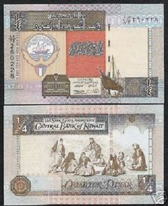 KUWAIT 1//4 KUWAITI DINAR P23 1994 FALCON BOAT UNC SIGN 15 MONEY ARAB GULF NOTE