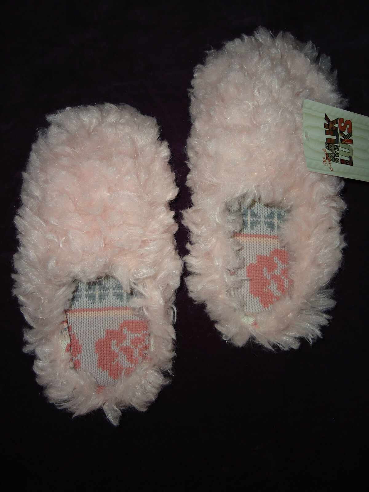 MUK LUKS WOMENS L PINK LUCIA FAUX FUR SCUFF SLIPPERS SOLD OUT WOW CUTE! NWT