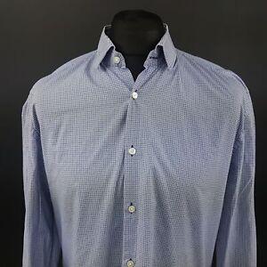 HUGO-BOSS-Mens-Shirt-43-17-XL-Long-Sleeve-Blue-Slim-Fit-Cotton