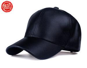 Hommes-Femmes-Cuir-Marron-Noir-Rouge-Baseball-Snapback-Chapeau-Casquette-Casquettes-Hat-Cap