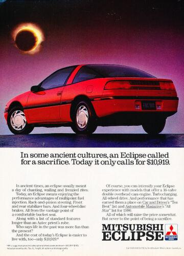 Vintage Advertisement Ad A20-B All stars 1990 Mitsubishi Eclipse