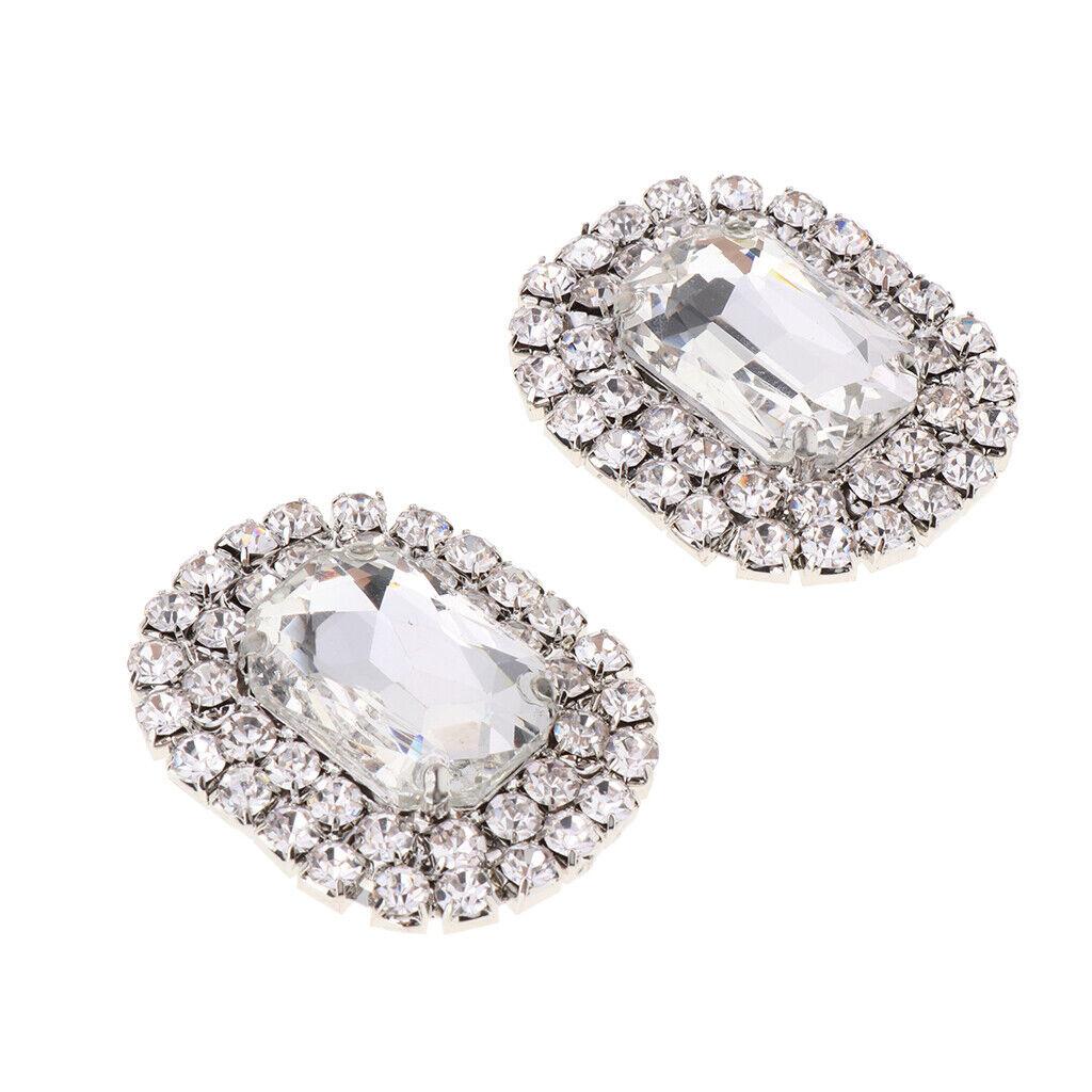 Women Square Design Wedding Party Shoe Clip Decorative Crystals Shoe Buckle -