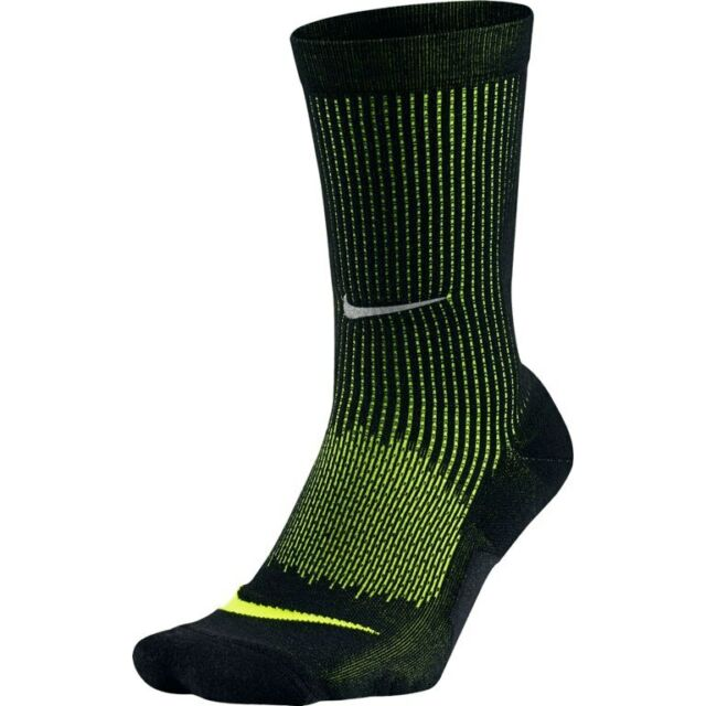 839cf656c75 Nike 2 Pair Elite Wool Cushioned Crew Socks Black Volt Sx5825 010 Men s 12 -13.5