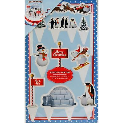 Set Of Christmas Cake Decoration Penguin Pop Top Scene Setters