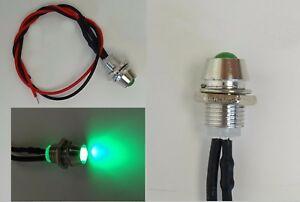 LED Grün 3mm Chrom Metall Fassung Halter Schraube 9V - 12V Anschlußfertig C2697