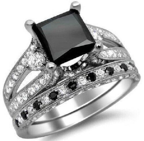 3.80Ct Princess Cut Black Diamond 18k White Gold Over Engagement Bridal Ring Set