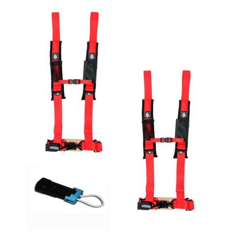 "Pro Armor 4 Point Harness 2/"" Pads Seat Belt PAIR BYPASS RED Commander Maverick"