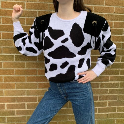 Vintage 80s Cow Print Sweater