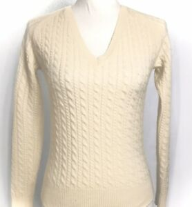 Ann-Taylor-Cashmere-Sweater-Women-s-Sz-XS-Cream-Ivory-Cable-Knit-Pullover-Vneck