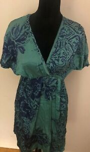 WOMENS-HALE-BOB-GREEN-amp-BLUE-FLORAL-SILK-DRESS-SIZE-M-Preowned