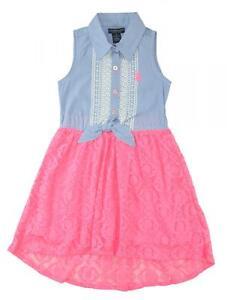 US-Polo-Assn-Toddler-Little-Girls-039-Sleeveless-Hi-Lo-Maxi-Dress-2T-3T-4T-4-5-6-6X