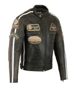 Chaqueta-En-Cuero-Para-Moto-Leather-Jacket-Vintage-Marron-Biker-Talla-L