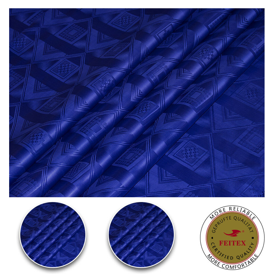 New Design Africa Cotton Fabric For Dress Royal bluee Sewing Material Bazin Riche