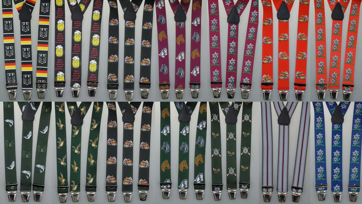extra starke Y-Hosenträger 35 mm breit versch. Farben wählen starke Clips SE