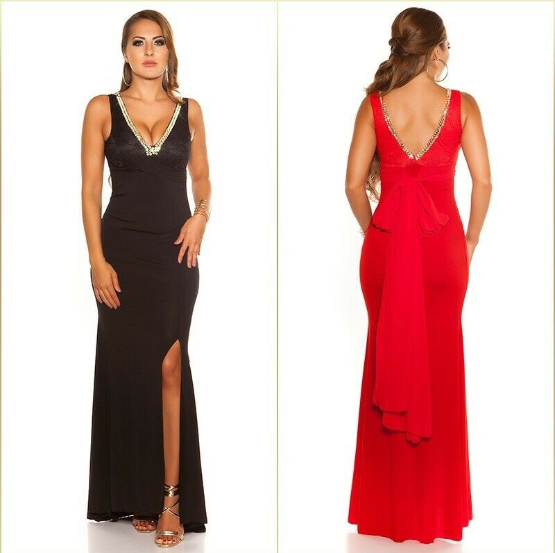 Koucla Damen Kleid Maxikleid Abendkleid Cocktailkleid mit Strass und Spitze