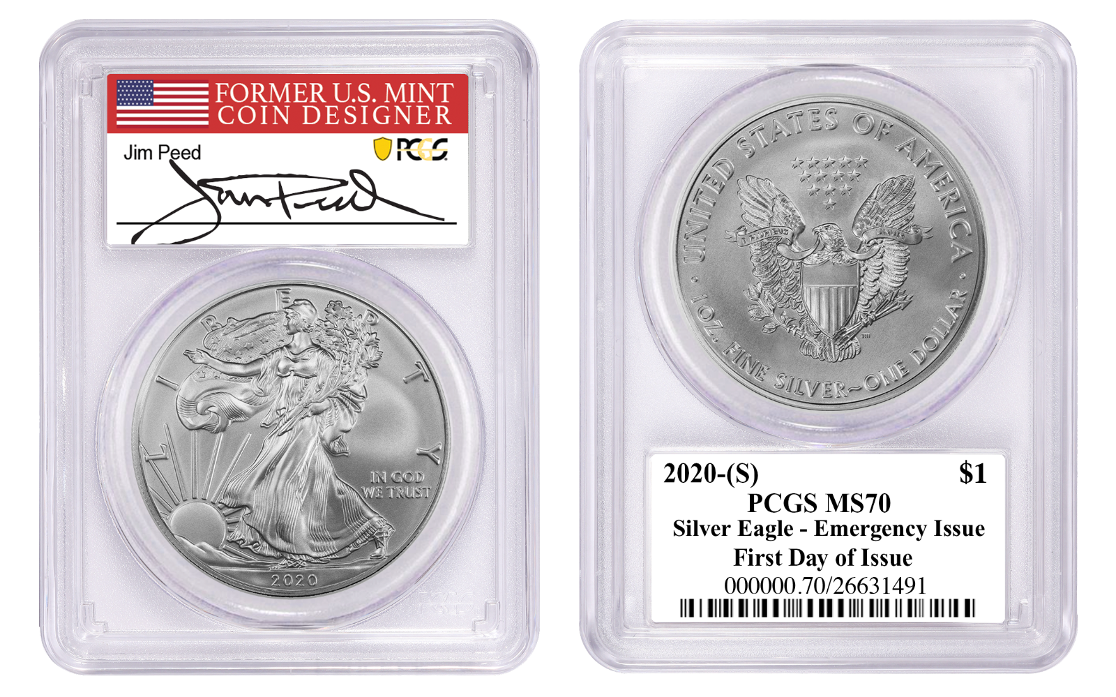 Silver Eagle PCGS MS70 First Day of Issue Emergency Issue SF Label S 2021