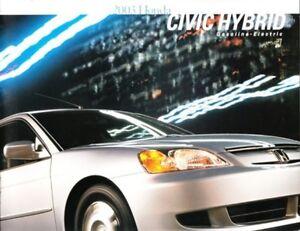 Image Is Loading 2003 03 Honda Civic Hybrid Original S Brochure