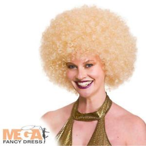 Giant Blonde Afro Femmes Déguisement 1970 S Disco Perruque Adultes Costume Accessoire-afficher Le Titre D'origine