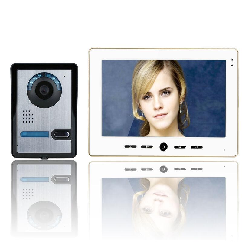 10  pulgadas Video Puerta Teléfono Timbre Intercomunicador Kit Cámara Monitor de 1 de 1 de visión nocturna